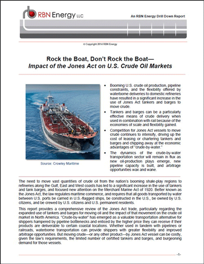 Rock the Boat, Don't Rock the Boat - Impact of the Jones Act on U.S. Crude Oil Markets