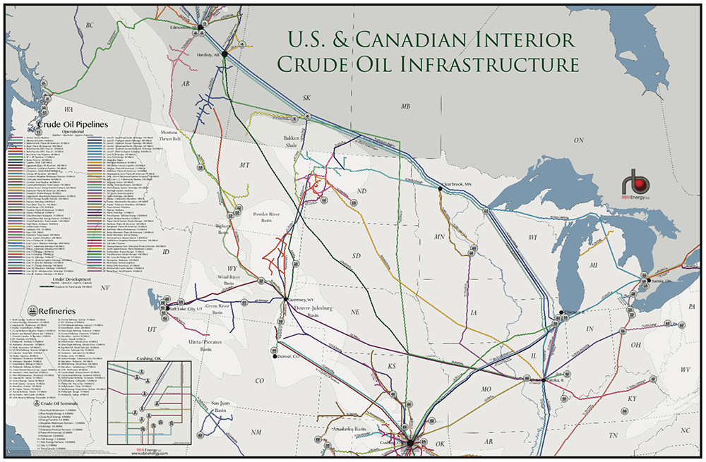 US & Canadian Interior Crude Oil Infrastructure Map | RBN Energy